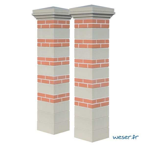 Kit Portail de 2 piliers complets Brique et Pierre joints blancs WESER - largeur 39 cm