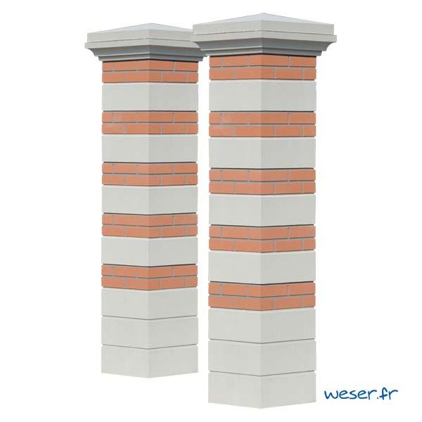 Kit Portail de 2 piliers complets Brique et Pierre joints gris WESER - largeur 39 cm