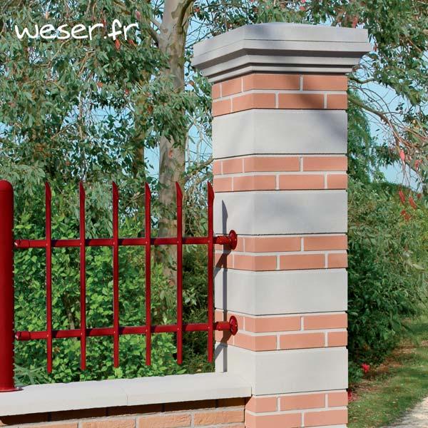Pilier de clôture Aspect Brique et Pierre Weser