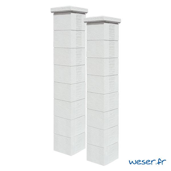 Kit portail de 2 Piliers de clôture et de portail Camargue Weser - Blanc Tradition
