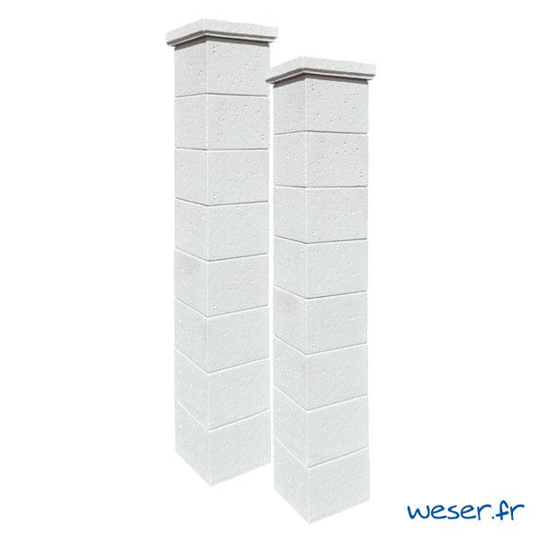 Kit portail de 2 Piliers complets de clôture et de portail Chaumont Weser - Blanc tradition