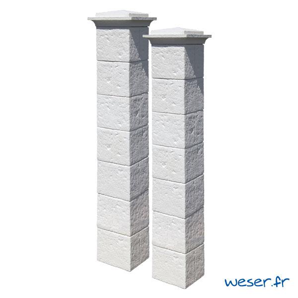 Kit portail de 2 Piliers complets de clôture et de portail Cheverny Weser - largeur 30 cm - Blanc tradition