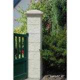 Pilier de clôture et de portail Cheverny Weser - élément de poteau largeur 30 cm, chapiteau largeur 39 et chapeau largeur 30 - Blanc tradition