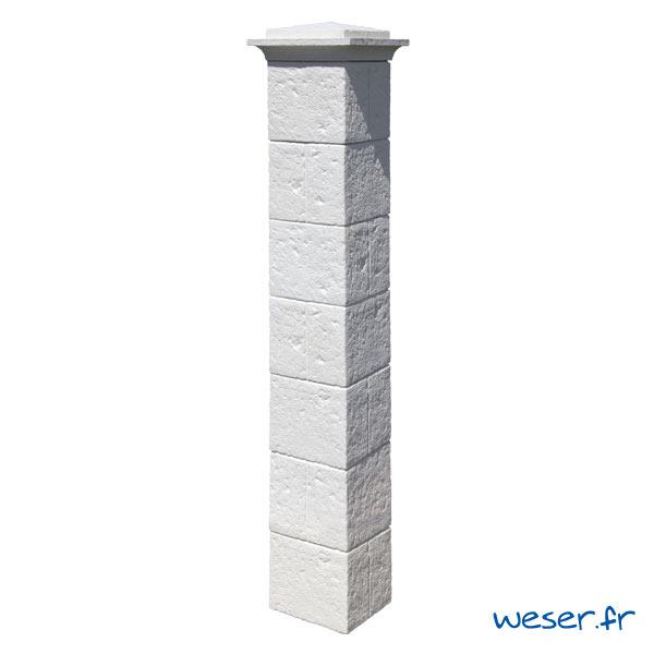 Kit portillon de 1 Pilier complet de clôture et de portail Cheverny Weser - largeur 30 cm - Blanc tradition