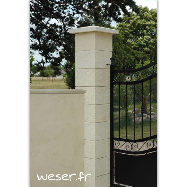 Pilier de clôture et de portail Cheverny Weser - élément de poteau largeur 30 cm, sans chapiteau et chapeau largeur 40 - Crème