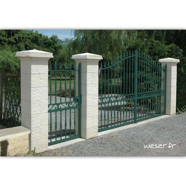 Pilier de clôture et de portail Cheverny Weser - élément de poteau largeur 38 cm, chapiteau largeur 52 et chapeau largeur 50 - Blanc tradition