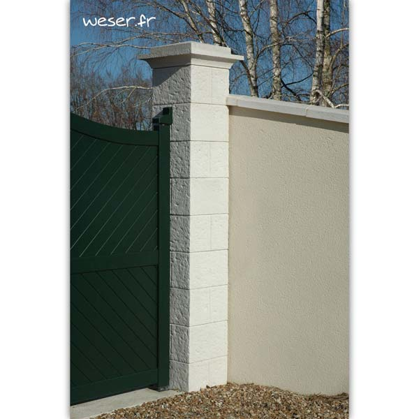 Pilier de clôture et de portail Cheverny Weser - élément de poteau largeur 38 cm, chapiteau largeur 52 et chapeau largeur 40 - Blanc tradition