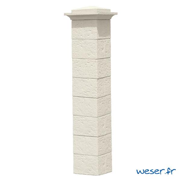Kit portillon de 1 Pilier complet de clôture et de portail Cheverny Weser - largeur 38 cm - Crème