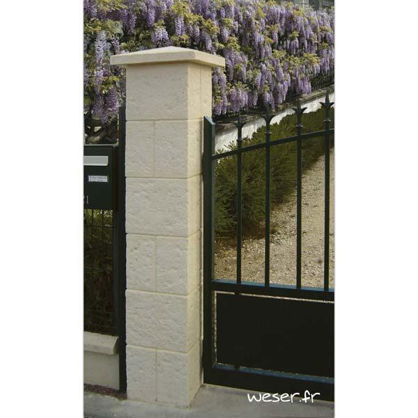 Pilier de clôture et de portail Cheverny Weser - élément de poteau largeur 38 cm, sans chapiteau et chapeau largeur 50 - Crème