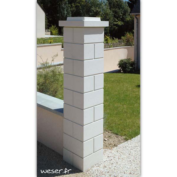 Pilier de clôture ou de portail Lisse Weser - Largeur 32 cm - Blanc cassé
