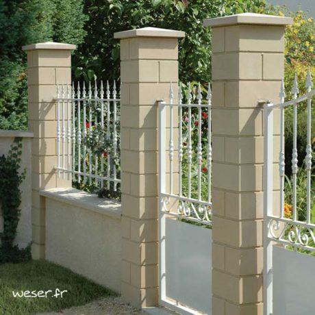 Pilier de clôture ou de portail Lisse Weser - Largeur 32 cm - Ton pierre