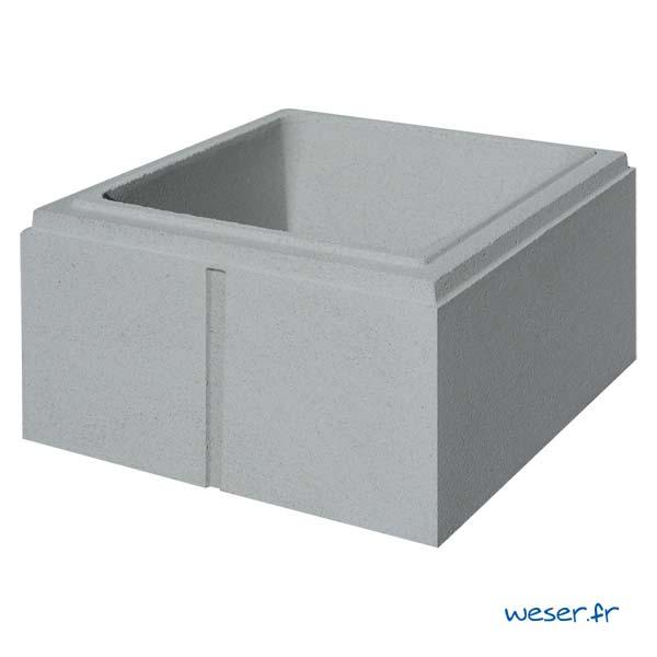Élément de pilier Lisse Weser - largeur 32 cm - Gris