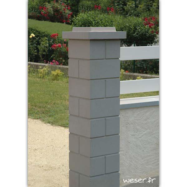 Pilier de clôture ou de portail Lisse Weser - Largeur 32 cm - Gris