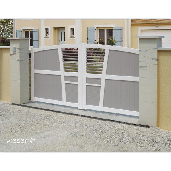 Pilier de clôture ou de portail Ondéa Weser - largeur 39 cm - Blanc cassé