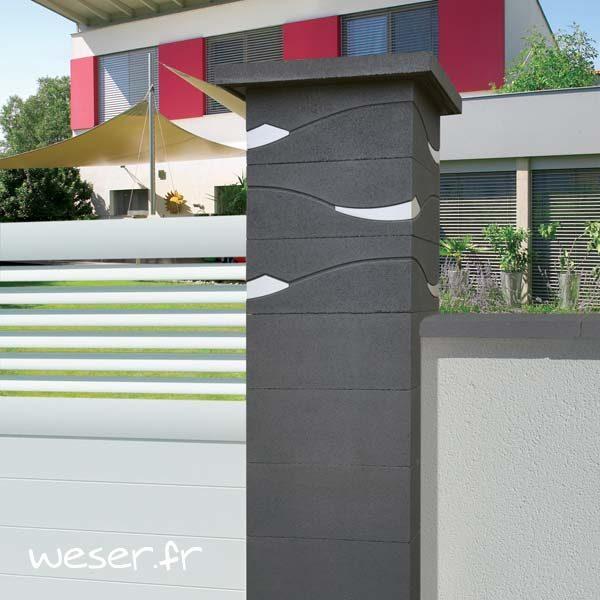 Pilier de clôture ou de portail Ondéa Weser - largeur 39 cm - Dark