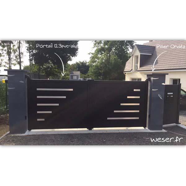 Piliers de clôture et de portail Ondéa WESER - Dark