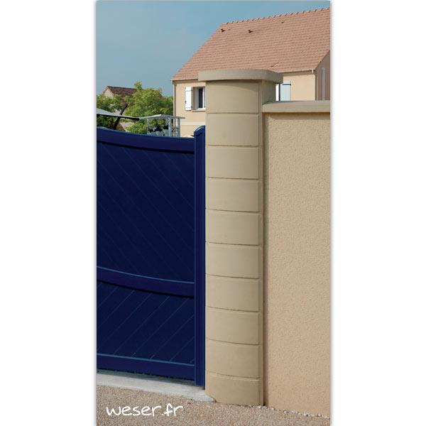 Pilier de clôture ou de portail Ovalis Weser - largeur 28/38 cm - Ton pierre