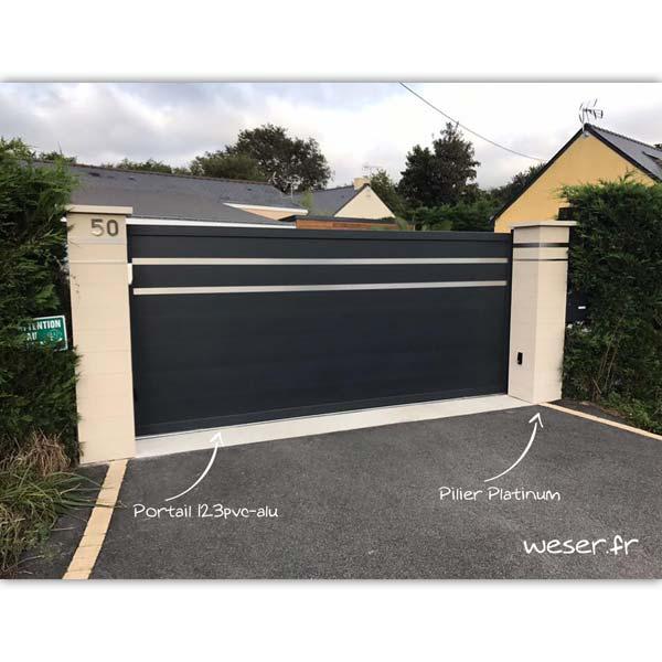 Piliers de clôture et de portail Platinum WESER - 2 inserts - Blanc cassé