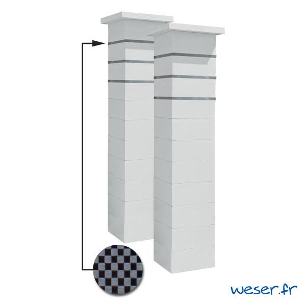 Kit portail de 2 Piliers complets de clôture ou de portail Steel'in Weser - 3 inserts aspect damier - Blanc cassé