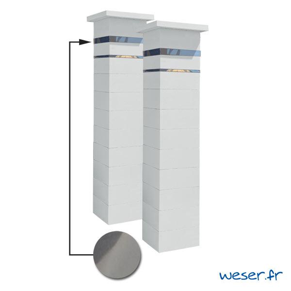 Kit portail de 2 Piliers complets de clôture ou de portail Steel'in Weser - 2 inserts aspect lisse - Blanc cassé