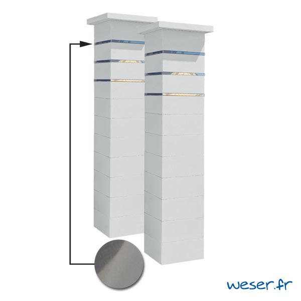 Kit portail de 2 Piliers complets de clôture ou de portail Steel'in Weser - 3 inserts aspect lisse - Blanc cassé