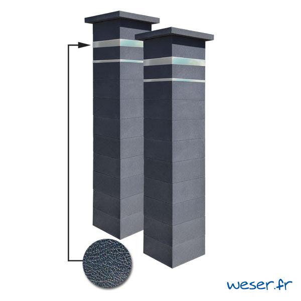 Kit portail de 2 Piliers complets de clôture ou de portail Platinum Weser - 2 inserts aspect cuir - Dark
