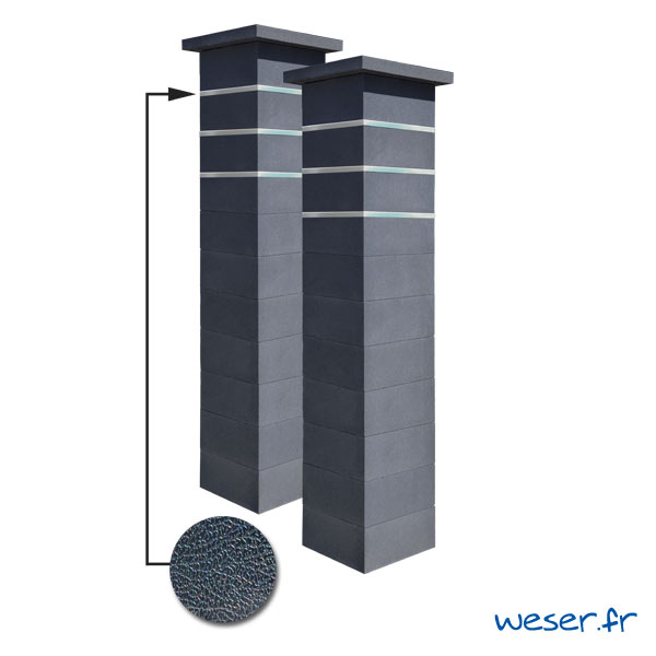 Kit portail de 2 Piliers complets de clôture ou de portail Platinum Weser - 3 inserts aspect cuir - Dark