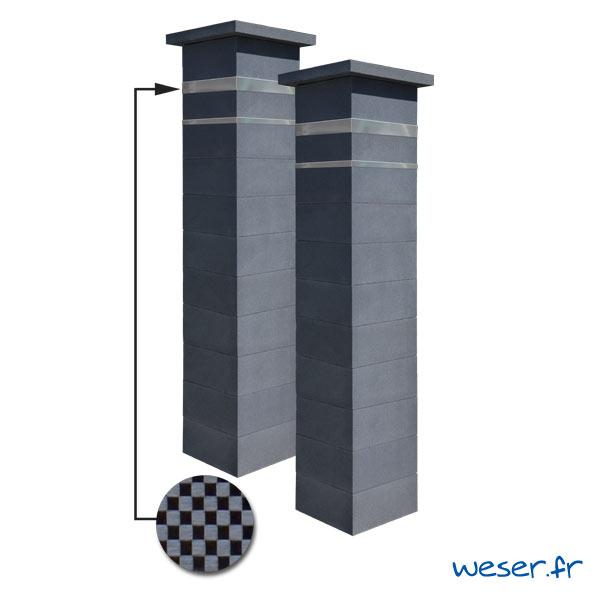 Kit portail de 2 Piliers complets de clôture ou de portail Platinum Weser - 2 inserts aspect damier - Dark