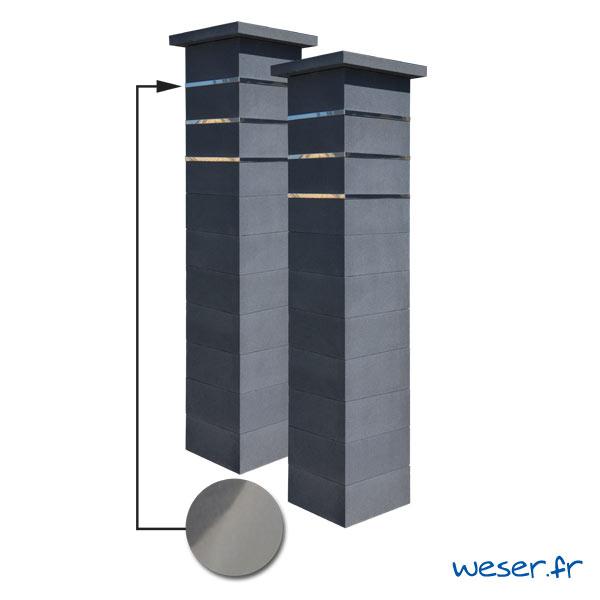 Kit portail de 2 Piliers complets de clôture ou de portail Platinum Weser - 3 inserts aspect lisse - Dark