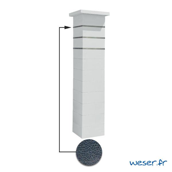 Kit portillon de 1 Pilier complet de clôture ou de portail Steel'in Weser - 3 inserts aspect cuir - Blanc cassé