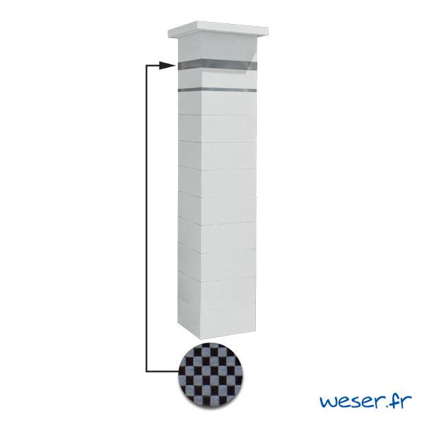 Kit portillon de 1 Pilier complet de clôture ou de portail Steel'in Weser - 2 inserts aspect damier - Blanc cassé