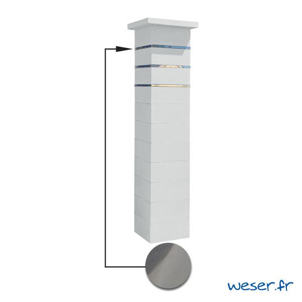 Kit portillon de 1 Pilier complet de clôture ou de portail Steel'in Weser - 3 inserts aspect lisse - Blanc cassé