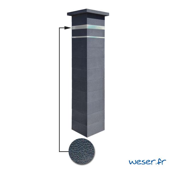 Kit portillon de 1 Pilier complet de clôture ou de portail Platinum Weser - 2 inserts aspect cuir - Dark