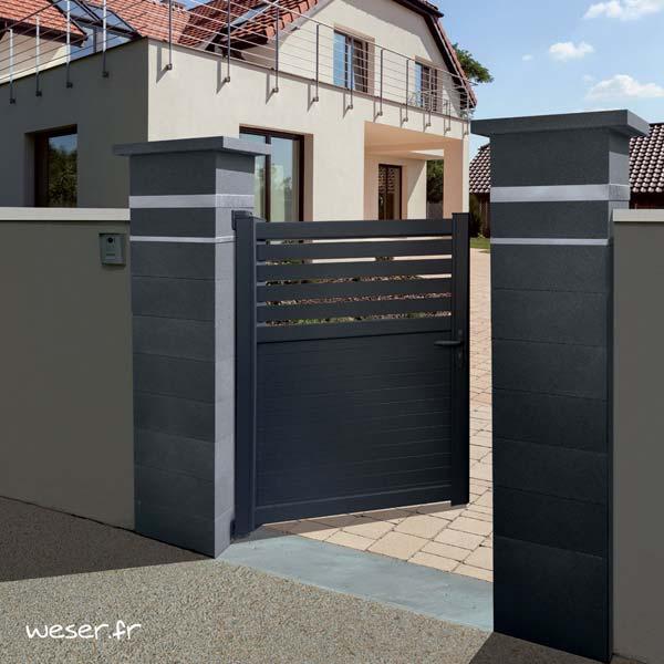 Pilier de clôture ou de portail Platinum Weser - 2 inserts aspect damier - Dark