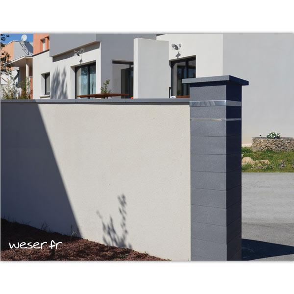 Pilier de clôture ou de portail Platinum Weser - 2 inserts aspect cuir - Dark