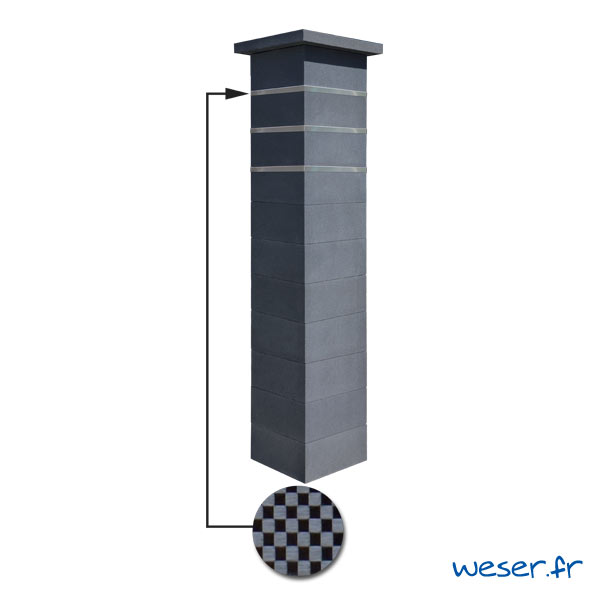 Kit portillon de 1 Pilier complet de clôture ou de portail Platinum Weser - 3 inserts aspect damier - Dark