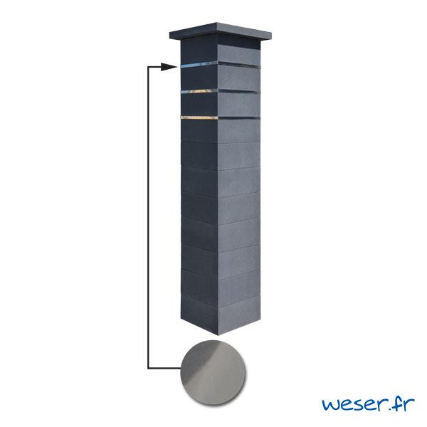 Kit portillon de 1 Pilier complet de clôture ou de portail Platinum Weser - 3 inserts aspect lisse - Dark