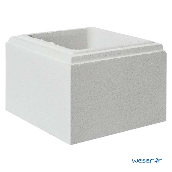 Élément de pilier Lisse Weser - largeur 25 cm - Blanc cassé