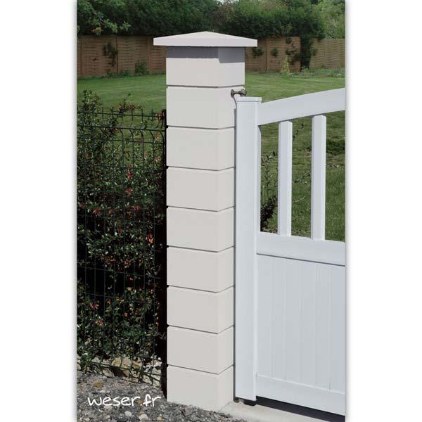 Pilier de clôture ou de portail Lisse et chapeau Plat Double Couronnement Weser - Largeur 25 cm - Blanc cassé