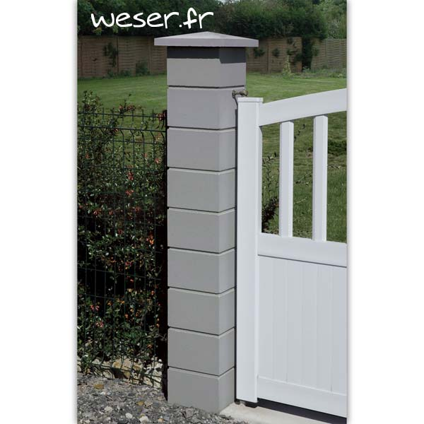 Pilier de clôture ou de portail Lisse Weser - Largeur 25 cm - Gris