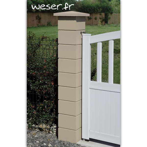 Pilier de clôture ou de portail Lisse Weser - Largeur 25 cm - Ton pierre