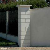 Pilier de clôture ou de portail Lisse Weser - Largeur 38 cm - Blanc cassé