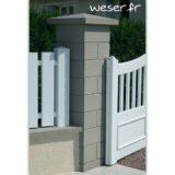 Pilier de clôture ou de portail Lisse Weser - Largeur 38 cm - Gris
