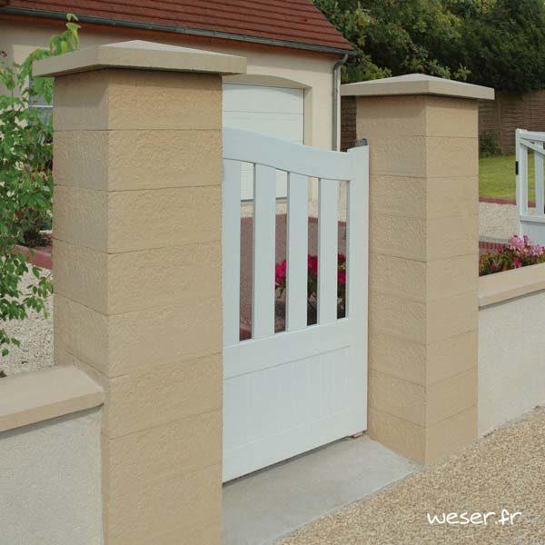 Pilier de clôture ou de portail Référence Weser - largeur 39 cm - Ton pierre