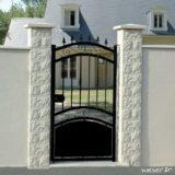 Pilier de clôture ou de portail Taillé Weser - largeur 30 cm - Blanc cassé