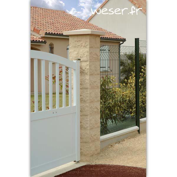Pilier de clôture ou de portail Taillé Weser - largeur 30 cm - Ton pierre
