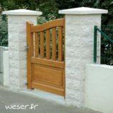Pilier de clôture ou de portail Taillé Weser - largeur 40 cm - Blanc cassé