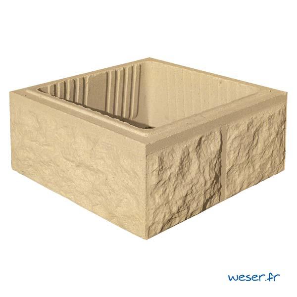 Élément de pilier de clôture ou de portail Taillé Weser - largeur 40 cm - Ton pierre