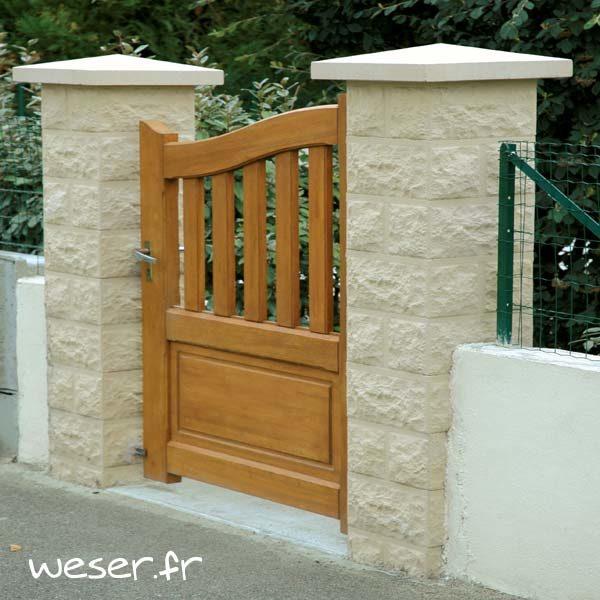 Pilier de clôture ou de portail Taillé Weser - largeur 40 cm - Ton pierre