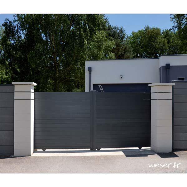 Pilier de clôture ou de portail Steel'in Weser - largeur 39 cm - Blanc cassé